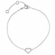 14kt Rose .06 CTTW/07.00 INCH Polished DIAMOND HEART BRACELET