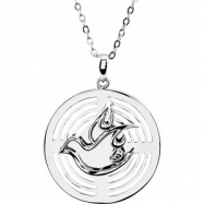 "Sterling Silver NECKLACE W/BOX Complete No Setting 25.30 MM Polished 18"" CONFIRMATION SPONSOR NECK"