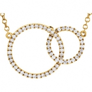 14kt Yellow NECKLACE Complete with Stone 18.00 INCH ROUND 01.00 mm WHITE DIAMOND Polished 1/3CTW DIA