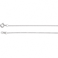 14kt White 18.00 INCH Polished SOLID CABLE CHAIN