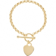 14kt Yellow 07.00 INCH Polished BRACELET WITH HEART