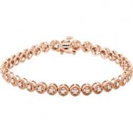 14kt Rose Bracelet 07.00 Inch 1CTW Diamond Bracelet