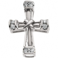 Sterling Silver 19.25X14.50 MM Polished .08CTW DIAMOND UNITY CROSS