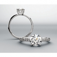 14kt White Engagement Semi-Mount with Head ASSCHER 05.00X05.00 MM NONE Polished 1/5CTW DIA SEMI-MOUN