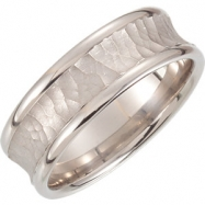 14kt White Band 11.00 07.50 MM Complete No Setting Polished FANCY CARVED BAND