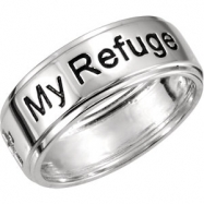 Sterling Silver RING WITH PACKAGING 11.00 07.95 MM Complete No Setting Polished JESUS MY REFUGE RING