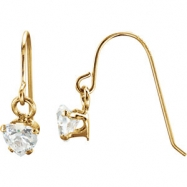 14kt Yellow EARRING Complete with Stone 15.00X04.00 MM ROUND 04.00 MM CUBIC ZIRCONIA Polished YOUTH