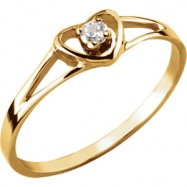 14kt Yellow Ring Complete with Stone 03.00 HEART 02.00 MM CZ Polished YOUTH HEART CZ RING WITH PKG