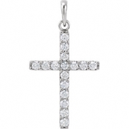 14kt Yellow Pendant Complete with Stone 1 1/2 03.00 MM Polished DIAMOND CROSS PENDANT