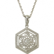 14kt White NECKLACE Complete with Stone ROUND 02.30 MM Diamond Polished .05CTW 18 INCH DIA NECKLACE