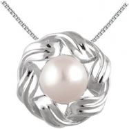 14kt White Pendant Complete with Stone Round 08.00 MM NONE Polished FRESHWATER CULTURED PEARL PEND
