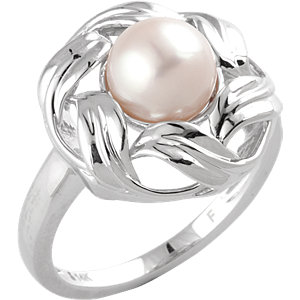 14kt White Complete with Stone Round 08.00 MM NONE NONE FRESHWATER CULTRD PEARL RING. Price: $525.15