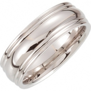 14kt Yellow Band 10.00 07.50 MM COMPLETE WITH SETTING Polished COMFORT FIT FANCY BAND