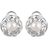 14kt White EARRING Complete with Stone NONE ROUND 08.00 MM PEARL Polished FRESHWATER CULTURED PEARL