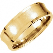14kt Yellow Band 10.00 07.50 mm Complete No Setting Polished FANCY BEVELED EDGE CARVED BAND