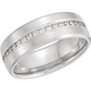 14kt White Band Complete with Stone ROUND 01.70 MM Diamond Polished 3/8CTW DIA ANNIVERSARY BAND