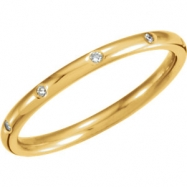 14kt Yellow Band Complete with Stone ROUND 01.30 MM Diamond Polished 1/10CTW DIAMOND ETERNITY BAND