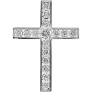 14kt White Pendant Complete with Stone NONE 02.80 AND 04.10 MM Polished DIA CROSS PENDANT