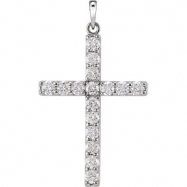 14kt White Pendant Complete with Stone 1 1/2 02.90 MM Polished DIAMOND CROSS PENDANT