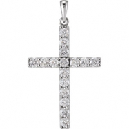 14kt White Pendant Complete with Stone 1 1/4 02.75 MM Polished DIAMOND CROSS PENDANT