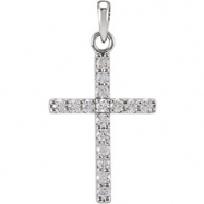 14kt White Pendant Complete with Stone 1/4 01.50 MM Polished DIAMOND CROSS PENDANT
