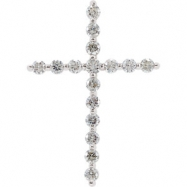 14kt White Complete with Stone 1.00 CT TW Diamond Cross Pendant
