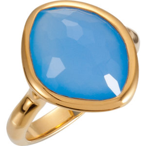 18kt Yellow Vermeil Ring Complete with Stone NONE 07.00 ORGANIC 15.00X11.00X16.00 MM BLUE CHALCEDONY. Price: $83.70
