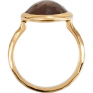 18kt Yellow Vermeil Ring Complete with Stone NONE 06.00 ORGANIC 15.00X11.00X06.00 MM SMOKY QUARTZ Po