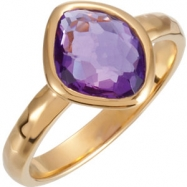 18kt Yellow Vermeil Ring Complete with Stone NONE 08.00 ORGANIC 10.00X08.00X05.00 MM AMETHYST Polish