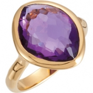 18kt Yellow Vermeil Ring Complete with Stone NONE 08.00 ORGANIC 15.00X11.00X06.00 MM AMETHYST Polish