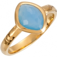 18kt Yellow Vermeil Ring Complete with Stone NONE 06.00 ORGANIC 10.00X08.00X05.00 MM BLUE CHALCEDONY