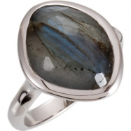 Sterling Silver Ring Complete with Stone NONE 06.00 ORGANIC 15.00X11.00X06.00 MM LABRADORITE Polishe