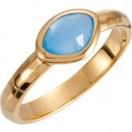 18kt Yellow Vermeil Ring Complete with Stone NONE 08.00 ORGANIC 07.00X05.00X04.00 MM BLUE CHALCEDONY