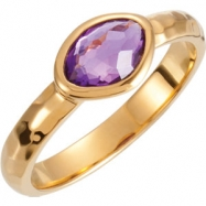 18kt Yellow Vermeil Ring Complete with Stone NONE 06.00 ORGANIC 07.00X05.00X04.00 MM AMETHYST Polish