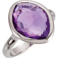 Sterling Silver Ring Complete with Stone NONE 06.00 ORGANIC 15.00X11.00X06.00 MM AMETHYST Polished A