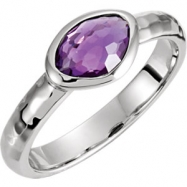 Sterling Silver Ring Complete with Stone NONE 07.00 ORGANIC 07.00X05.00X04.00 MM AMETHYST Polished A