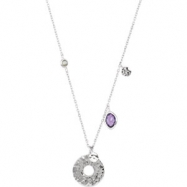 Sterling Silver NECKLACE Complete with Stone ORGANIC & ROUND VARIOUS AMETHYST & LABRADORITE Polished