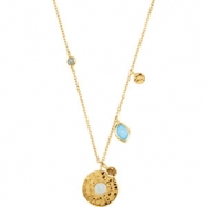 18kt Yellow Vermeil NECKLACE Complete with Stone ORGANIC & ROUND VARIOUS BLUE CHALCEDONY & LABRADORI
