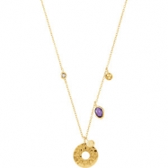 18kt Yellow Vermeil NECKLACE Complete with Stone ORGANIC & ROUND VARIOUS AMETHYST AND SMOKY QUARTZ P