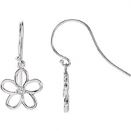 Sterling Silver EARRING Complete with Stone 25.25X12.25 MM PAIR ROUND 02.00 MM Diamond Polished .06