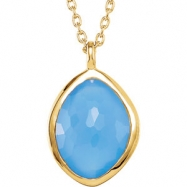 18kt Yellow Vermeil NECKLACE Complete with Stone ORGANIC AND ROUND VARIOUS BLUE CHALEC,SMOKY QUARTZ,