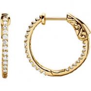 14kt Yellow Diamond White 1/2 Pair Polished Inside-Outside Hoop Earrings