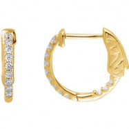 14kt Yellow Diamond White 1/4 Pair Polished Inside-Outside Hoop Earrings