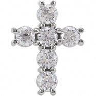 14kt White Complete with Stone 1 1/4 CTW Diamond Cross Pendant