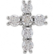 14kt White Complete with Stone 1/3 CTW Diamond Cross Pendant