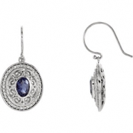 14kt White Complete with Stone Iolite And Diamond 07.00X05.00 mm Pair 1/3CTW Dia and Iolite Earrings