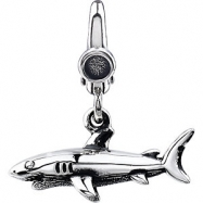 Sterling Silver CHARM Complete No Setting 20.00X20.00 MM Polished SHARK CHARM