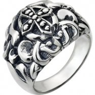 Sterling Silver Ring Complete No Setting SIZE 10.00 Polished MENS CROSS FASHION RING