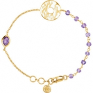 "18kt Yellow Vermeil BRACELET Complete with Stone UNEVEN AND ROUND VARIOUS AMETHYST Polished 7.5"" BRA"