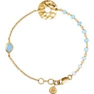 18kt Yellow Vermeil BRACELET Complete with Stone UNEVEN AND ROUND VARIOUS BLUE CHALCEDONY Polished 7